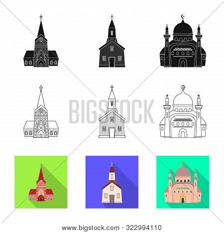 Isolated Object Of Cult And Temple Logo. Set Of Cult And Parish Vector Icon For Stock.