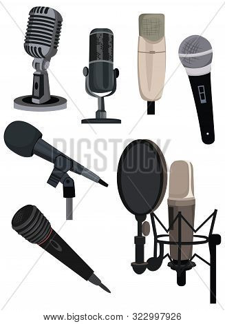 Set Of Different Microphones. Collection Of Devices For Audio Podcast, Broadcast Or Music Recording