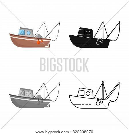 Vector Design Of Fishery And Trawler Symbol. Collection Of Fishery And Naval Stock Symbol For Web.