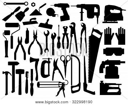Set Of Building Tools Silouettes. Collection Of Appliances And Power Tools For Builders. Black-white