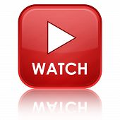 """WATCH"" with play icon on red glossy square button poster"