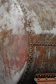 Old rusty railway cistern detail and close-up poster