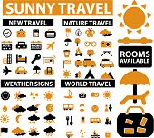 100 sunny travel signs, icons, vector poster