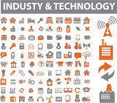industry & technology icons, signs, vector illustrations poster
