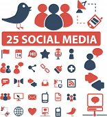 25 social media icons, signs, vector poster