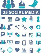 25 soical media icons, signs, vector illustrations poster