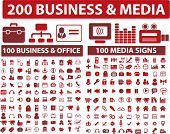 200 media & business icons, signs, vector illustrations set poster