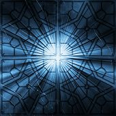 Grungy church window background poster