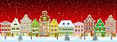 Winter night in the old town on the eve of Christmas. City street in winter. Christmas Eve. The houses are covered with snow. Snow on a city street. Houses decorated before the winter holidays. Snow-covered city street. t-shirt