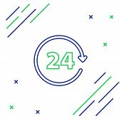 Blue and green line Clock 24 hours icon on white background. All day cyclic icon. 24 hours service symbol. Colorful outline concept. Vector Illustration poster