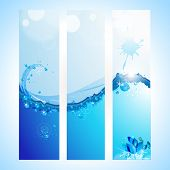 Abstract water website header or banner  with  waves and sun light. vector illustration in EPS 10.Save water concept. poster