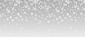 Winter Snowfall. Falling Snow, Flakes Banner. Vector Christmas Snowfall Border Isolated On Transpare