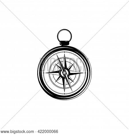 Flat Black Compass Icon Isolated On White. Compass Traveler Sign. Vector Flat Illustration. Orientat