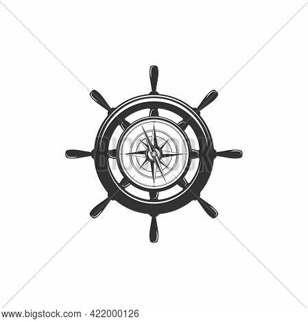 Nautical Black Helm With Compass Isolated On White. Ship And Boat Steering Wheel Sign. Boat Wheel Co