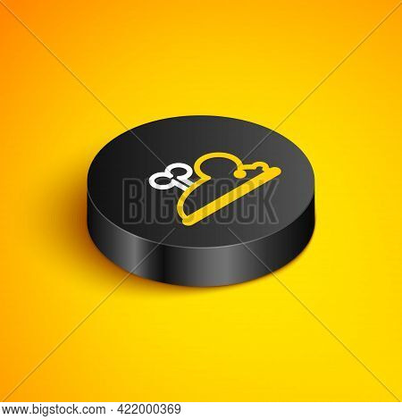 Isometric Line Clockwork Mouse Icon Isolated On Yellow Background. Wind Up Mouse Toy. Black Circle B