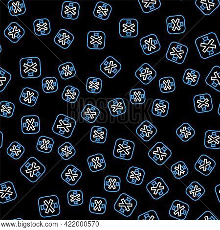 Line No Sweets And Candies Prohibition Icon Isolated Seamless Pattern On Black Background. No Candy