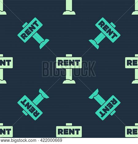 Green And Beige Hanging Sign With Text Rent Icon Isolated Seamless Pattern On Blue Background. Signb