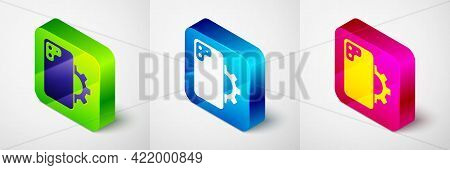 Isometric Phone Repair Service Icon Isolated On Grey Background. Adjusting, Service, Setting, Mainte