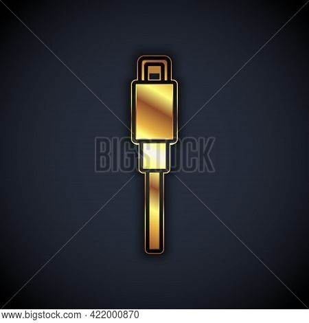 Gold Usb Cable Cord Icon Isolated On Black Background. Connectors And Sockets For Pc And Mobile Devi