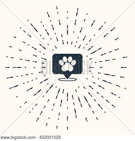Grey Map Pointer With Veterinary Medicine Hospital, Clinic Or Pet Shop For Animals Icon Isolated On