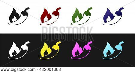 Set Hot Chili Pepper Pod Icon Isolated On Black And White Background. Design For Grocery, Culinary P