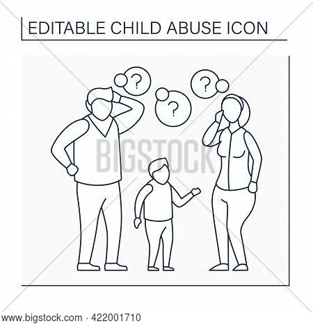 Lack Of Parenting Skills Line Icon. Unrealistic Expectations About Kid Care. Experience Lack.child A