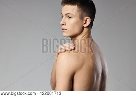 Athletic Men Muscled Arm Muscles Naked Back Gray Background Model Back View