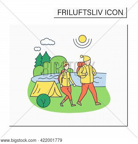 Friluftsliv Color Icon. Family Hiking. Man And Woman Walking Near River. Camping. Nice Weather. Natu