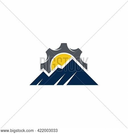 Mountain Expedition Logo Designs Vector, Mountain And Gear Logo Template