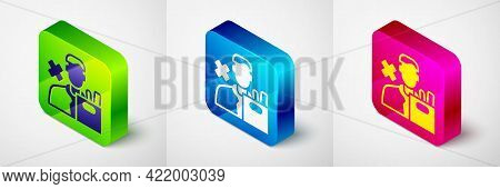 Isometric Dismissed Sad Young Man Carrying Box With His Personal Belonging Leaving His Job Icon Isol