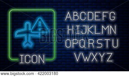 Glowing Neon Warning Aircraft Icon Isolated On Brick Wall Background. Faulty Plane. Flying Prohibiti