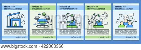 Digital Transformation Chalk Icons Set.industrialization Periods Templates. Flyers, Magazines, Poste