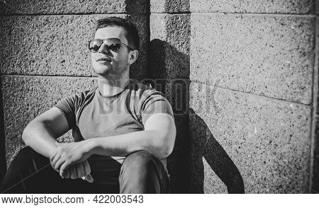 Lonely Guy At City Life. Concept Of Young People Problems And Alone People. Psychology Of Men