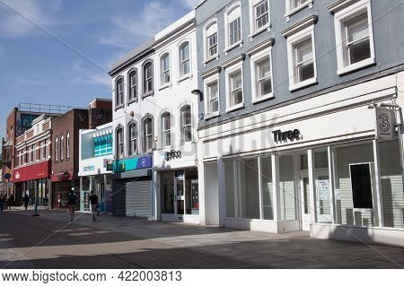 Shops On The High Street In Maidenhead, Berkshire In The Uk, Taken 30th March 2021
