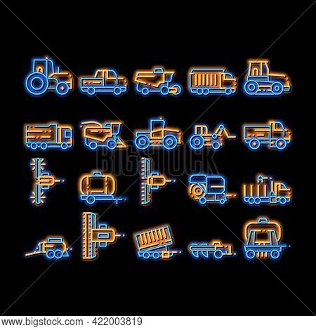 Agricultural Vehicles Neon Light Sign Vector. Glowing Bright Icon Agricultural Transport, Harvesting