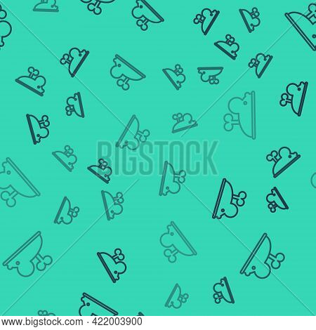 Black Line Clockwork Mouse Icon Isolated Seamless Pattern On Green Background. Wind Up Mouse Toy. Ve