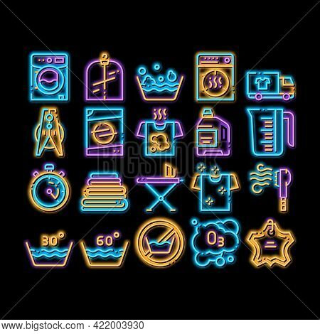 Laundry Service Neon Light Sign Vector. Glowing Bright Icon Laundry Service, Washing Clothes Pictogr