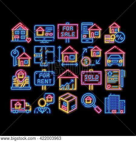 Building House Sale Neon Light Sign Vector. Glowing Bright Icon Building Sale And Rent Tablet, Web S