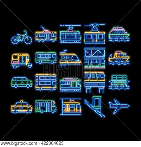 Public Transport Neon Light Sign Vector. Glowing Bright Icon Trolleybus And Bus, Tramway And Train,