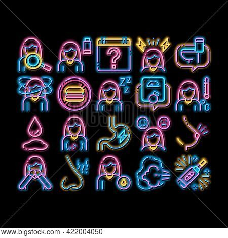 Symptomps Of Pregnancy Element Neon Light Sign Vector. Glowing Bright Icon Fatigue And Nausea, Food