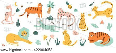Wild Cat Set. Safri Animals Collection. Tiger, Lion, Leopard, Jaguar African Feline Animals Tropical