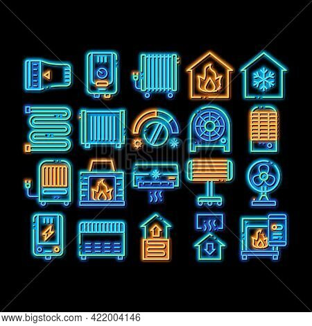 Heating And Cooling Neon Light Sign Vector. Glowing Bright Icon Cool And Humidity, Airing, Ionisatio