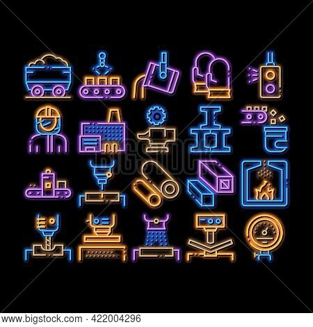 Metallurgical Elements Neon Light Sign Vector. Glowing Bright Icon Factory Furnace, Metal Melting An
