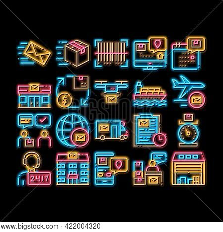 Postal Transportation Company Neon Light Sign Vector. Glowing Bright Icon Support And Postal Buildin