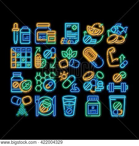 Supplements Elements Neon Light Sign Vector. Glowing Bright Icon Pills And Drugs, Plastic Container