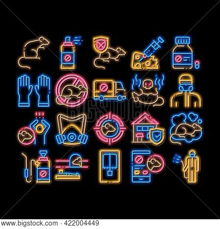 Rat Protect Elements Neon Light Sign Vector. Glowing Bright Icon Rat Control Service, Human Silhouet