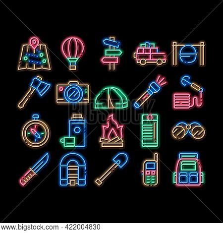 Adventure Elements Neon Light Sign Vector. Glowing Bright Icon Binocular And Camera, Map And Boat, A