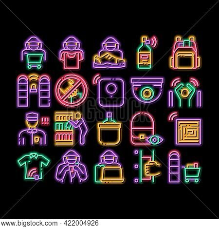 Shoplifting Elements Neon Light Sign Vector. Glowing Bright Icon Video Camera And Guard Security Fro