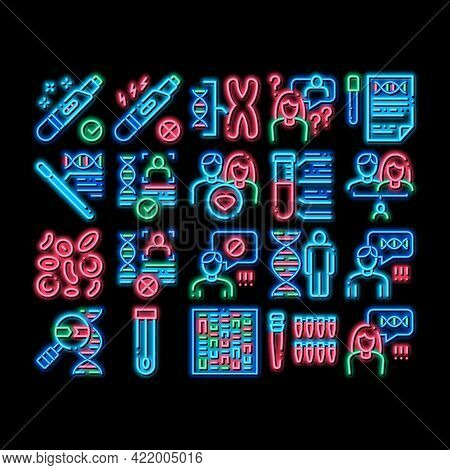 Paternity Test Dna Neon Light Sign Vector. Glowing Bright Icon Man And Woman Silhouette, Chemistry L