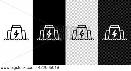 Set Line Hydroelectric Dam Icon Isolated On Black And White, Transparent Background. Water Energy Pl